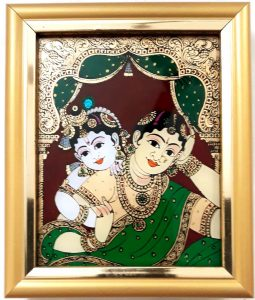 Vaiba Krishna and Yashoda Glass Tanjore painting