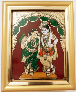 Vaiba Krishna and Radha Glass Tanjore painting