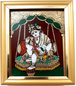 13 Vaiba Swing Krishna with Butter Glass Tanjore painting