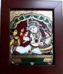 14 Vaiba Krishna with Butter Glass Tanjore painting