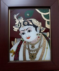 21 Vaiba Face Krishna Glass Tanjore painting